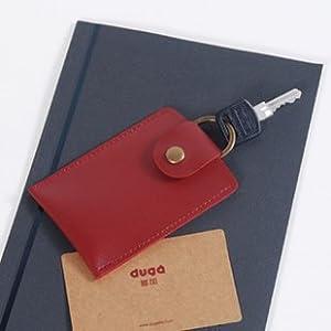 公交卡套韩国可爱ic门禁卡套钥匙包钥匙扣卡片包duga多加 (红色)