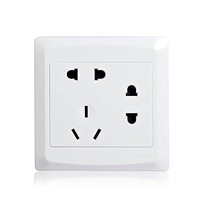 锐意系列 墙壁开关插座 润白86型 单相二二三极连体七孔插座 多孔插座