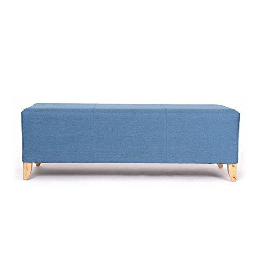 【京好】实木试换鞋凳 沙发凳子服装店脚踏e150 (蓝色麻布, 长200宽45