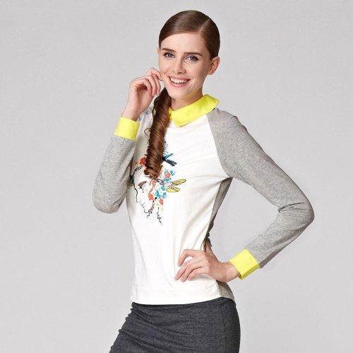 OSA欧莎冬季时尚印花93%棉撞色打底衫女款T恤长袖T36009