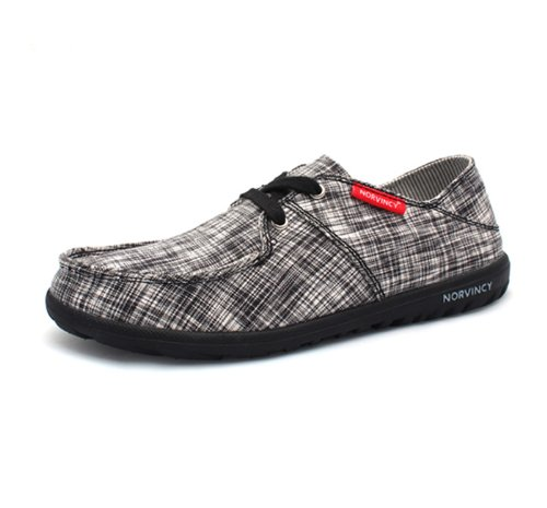 NORVINCY 诺凡希 格纹帆布鞋男韩版英伦潮流鞋子低帮男鞋NVC12001 3.28