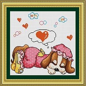 十字绣新款客厅专卖粉色梦幻蓝色卡通小狗2