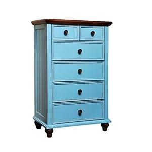远豪家私 美式乡村风格 做旧家具 地中海蓝斗柜 760*390*1130