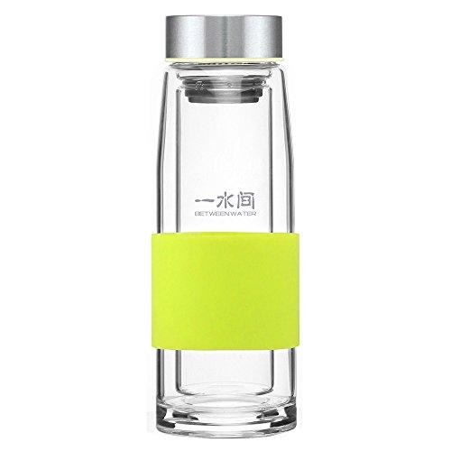between water一水间 炫彩硅胶套双层玻璃水杯子保温杯bwja-gl-24y
