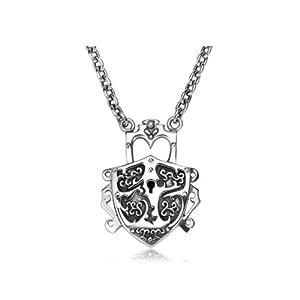 花纹银锁项链
