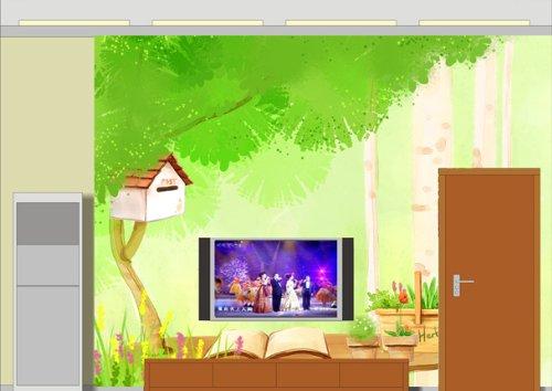 大型壁画壁纸|卡通大树花卉电视沙发背景墙|卧室壁画