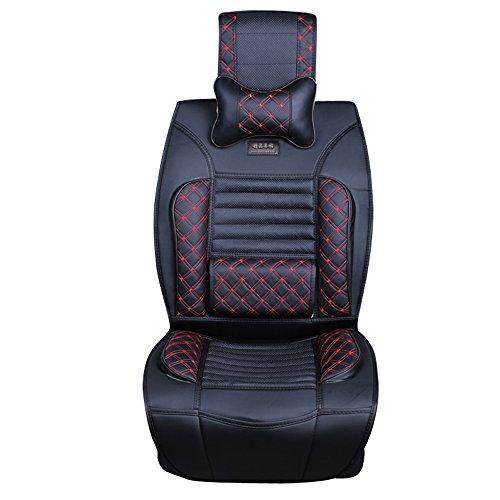 MR.MA马先生 新款绣花汽车坐垫 高级丹尼皮PU皮中药健康坐垫 夏季四季五座通用座垫座套 全包式 (黑色)-图片