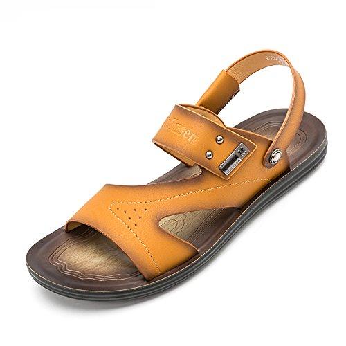 MULINSEN 木林森凉鞋男 真皮夏季新款男士韩版休闲凉鞋透气防滑沙滩鞋男鞋