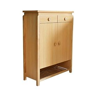 Lianyi 联一家具实木鞋柜多层大容量 简约现代两门鞋柜鞋架