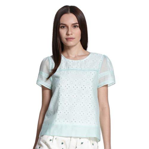 ochirly 欧时力 夏装冰淇淋色雪纺皱短袖衬衫 女式 1132011480631