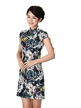 嘉彦姿 亚麻棉 新款手绘复古改良旗袍 民国风中式旗袍连衣裙 日常夏装