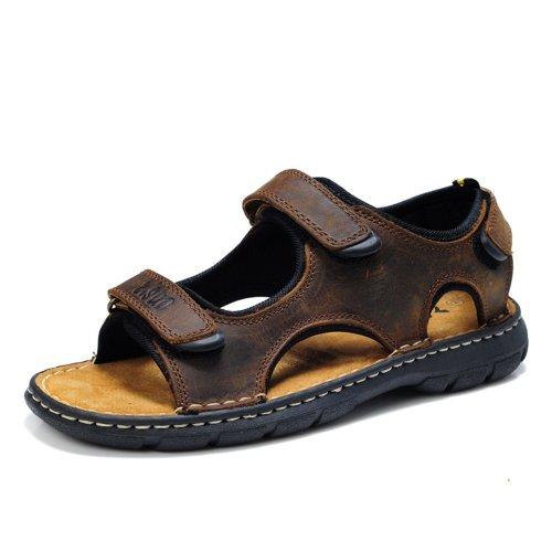Z.SUO走索 头层牛皮 橡胶鞋底 夏季休闲男鞋 户外涉溪鞋 套脚舒适款 男便鞋801 棕疯马色
