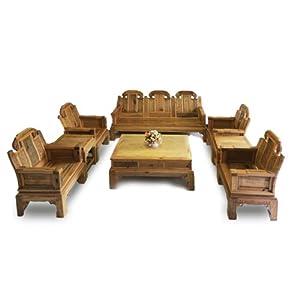 中式复古实木方椅方桌 楠木三人沙发 方桌 原木家具组合八件套