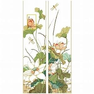 dmc 多美绣 大幅客厅卧室欧式花卉油画荷花对联 法国 十字绣 11ct 3股