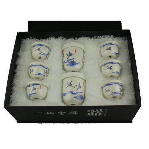 瑞恒逸品茶具壹品舍得青花瓷瑞鹤呈祥八件套 玻璃与瓷