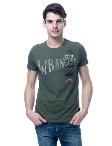 Wrangler 男式 纯棉休闲英伦风字母LOGO短袖T恤 W11607J035HA00L
