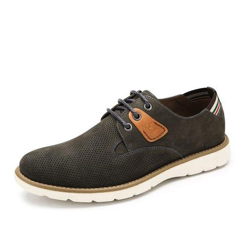 Camel 骆驼 男鞋 时尚休闲舒适系带男鞋 春夏季新款透气英伦板鞋 头层牛皮A422055001
