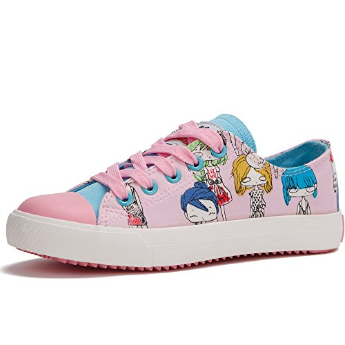 童天 手绘涂鸦卡通女孩可爱低帮系带帆布鞋休闲运动女童儿童单鞋大