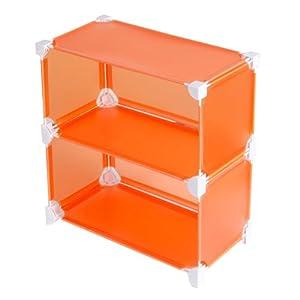 南辰 DIY创意魔片 2格厨房置物架 收纳架 餐具 调味瓶摆放架 (橙色)