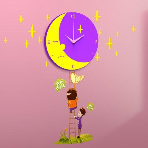 摘月亮挂钟 亲子互动产品 挂钟可爱儿童花颜墙纸壁钟 儿童挂钟创意3d