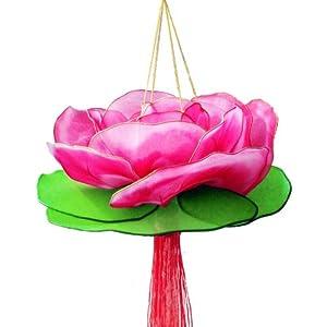 传统纯手工手提荷花灯 元宵节中秋节莲花灯 儿童丝网花灯笼玩具 (玫红