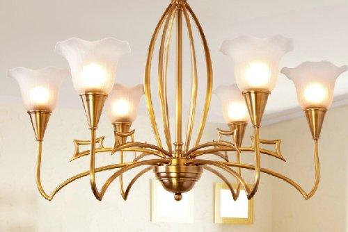 宏光 全纯铜灯欧式灯客餐厅灯玻璃灯卧室