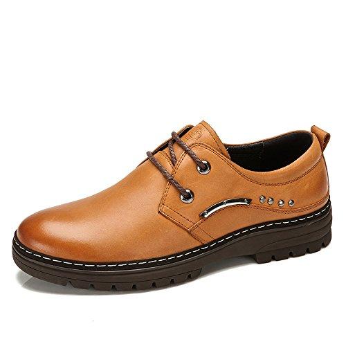 骆驼牌 新款男士日常休闲鞋真皮男皮鞋系带韩版男鞋子耐磨男低帮鞋