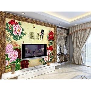 现代中式电视背景墙壁画