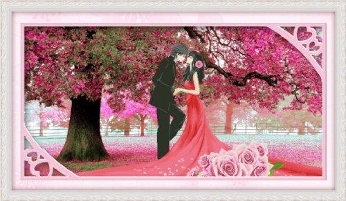 千思梦妍十字绣客厅樱花树下的婚礼情侣大幅结婚婚纱