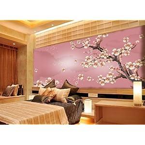 现代中式花卉梅花大型壁画客厅
