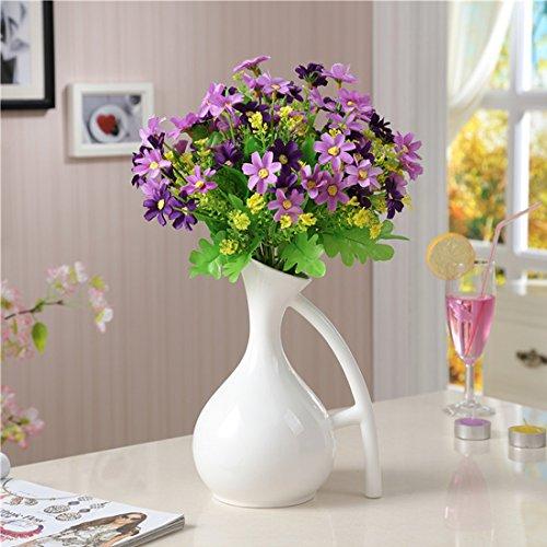 沐和欧式经典白色玉质陶瓷花瓶花艺装饰品时尚简约带把餐台水培花插花