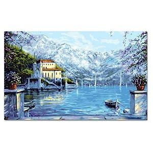 自油自画 数字油画diy 手绘 欧式风景客厅装饰壁画 瓦尔登湖 70x120
