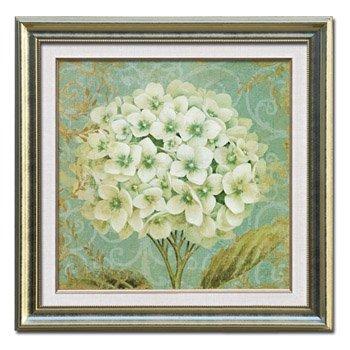 花卉静物有框画 香槟色花边双框c