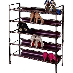 欧式简约现代风格五层碳钢防锈烤漆金属鞋架