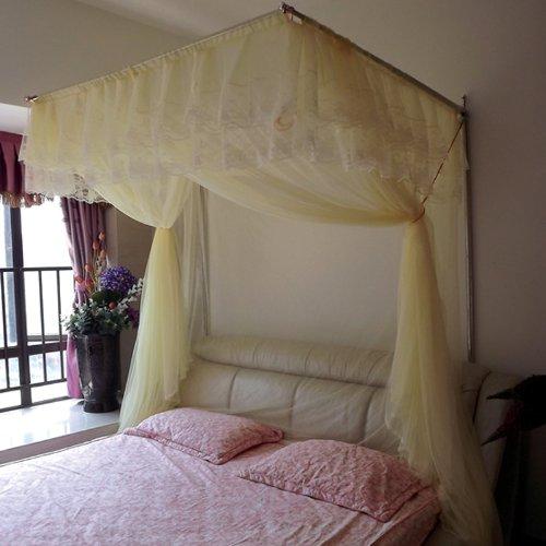 圣安贝 蚊帐 不锈钢 30mm管加厚 宫廷方顶 免打墙 易安装 米黄床尾