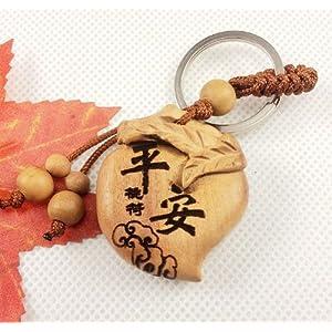 龙义 开光桃木平安符桃符十二生肖钥匙扣寿桃桃木挂件木雕饰品2000587