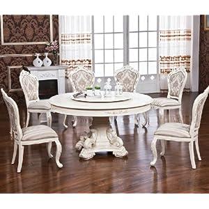 现代简约象牙白色欧式餐桌椅