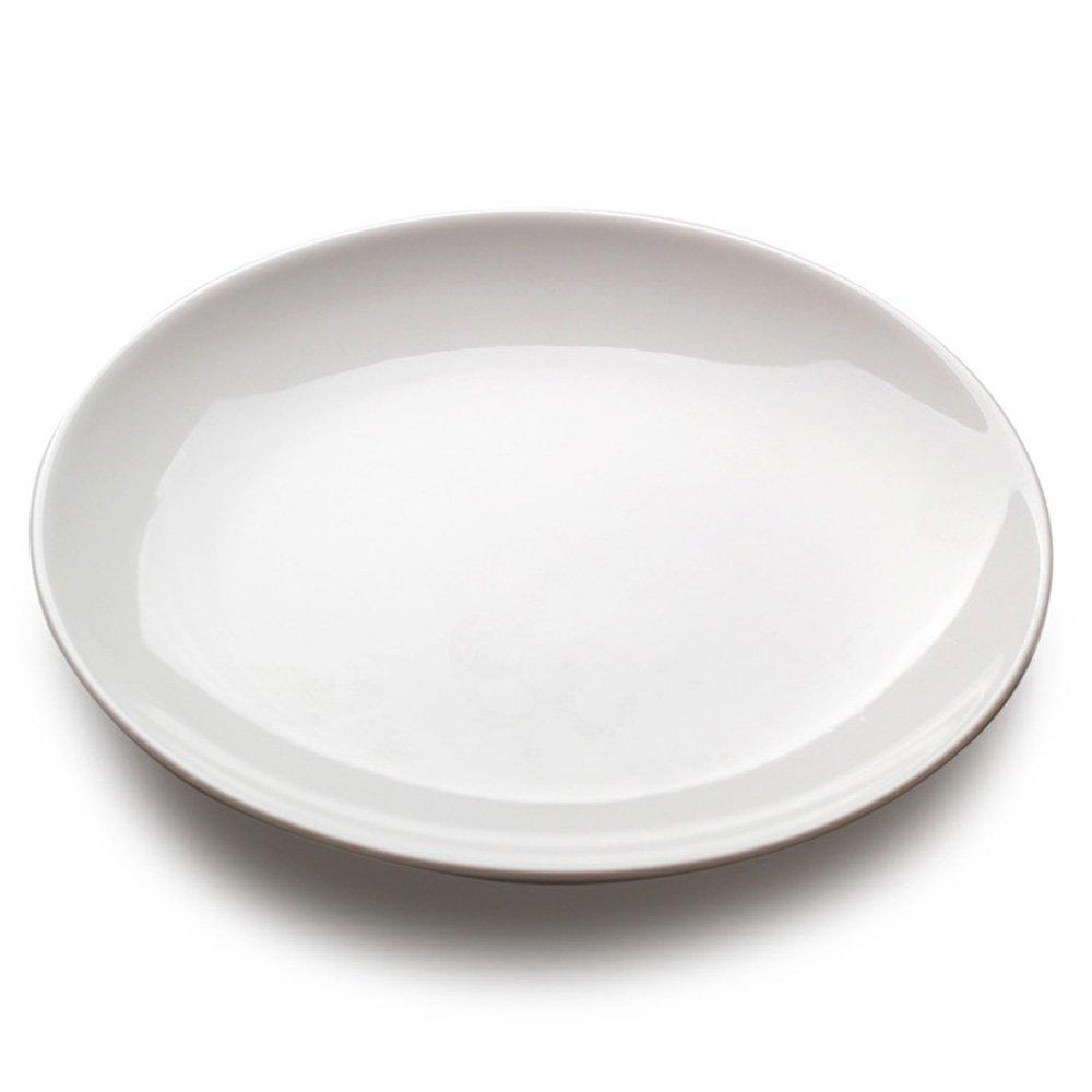 hyu 盘子10寸陶瓷西餐餐具自助餐盘厨房陶瓷圆餐盘纯白浅式盘碟子 2盘