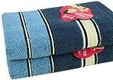 GRACE洁丽雅纯棉简约方格毛巾套装(单条装)74*34cm 蓝色 AM8146-1-图片