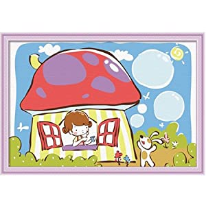 佳彩天颜 数字油画diy 客厅风景情侣儿童卡通装饰画 蘑菇房子 蘑菇