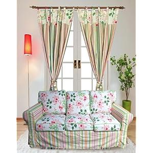 软装饰成套系列花样年华全棉活性帆布窗帘1.5米宽1片式条纹B版怎