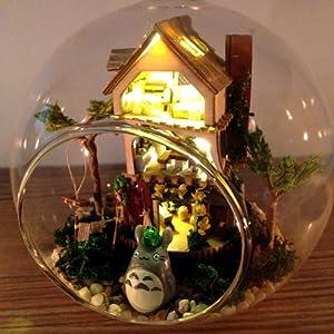 新款diy小屋 迷你岛屿森林梦 带玻璃球带声控灯 装饰摆件 爱情海