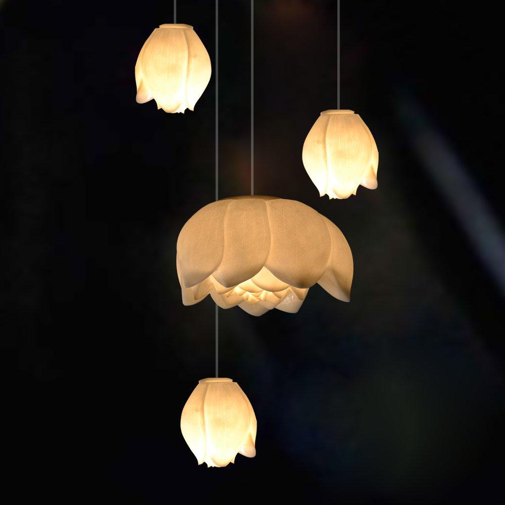 吉祥家 现代中式吊灯[浅荷轻漾]家居灯饰 白色荷花 客厅卧室灯具 (俏