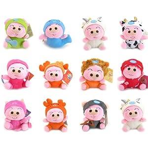 甜蜜城堡 毛绒玩具布娃娃 新款12星座守护神可爱麦兜猪公仔 (全套12款