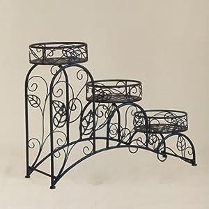 欧式三层客厅阳台铁艺花架子 创意阶梯型多层墙角花盆架田园花架28665