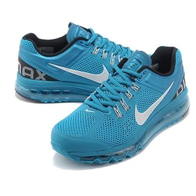 nike耐克2013新款男女款airmax+全掌气垫跑步鞋运动鞋蓝白高清图片