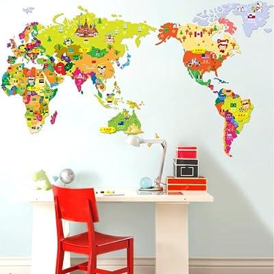 飞彩卡通墙壁贴世界地图客厅卧室沙发电视背景墙儿童