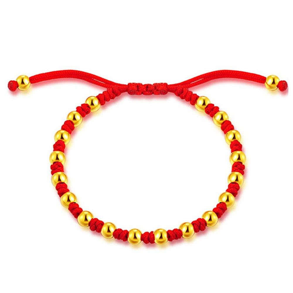 金转运珠红绳手链