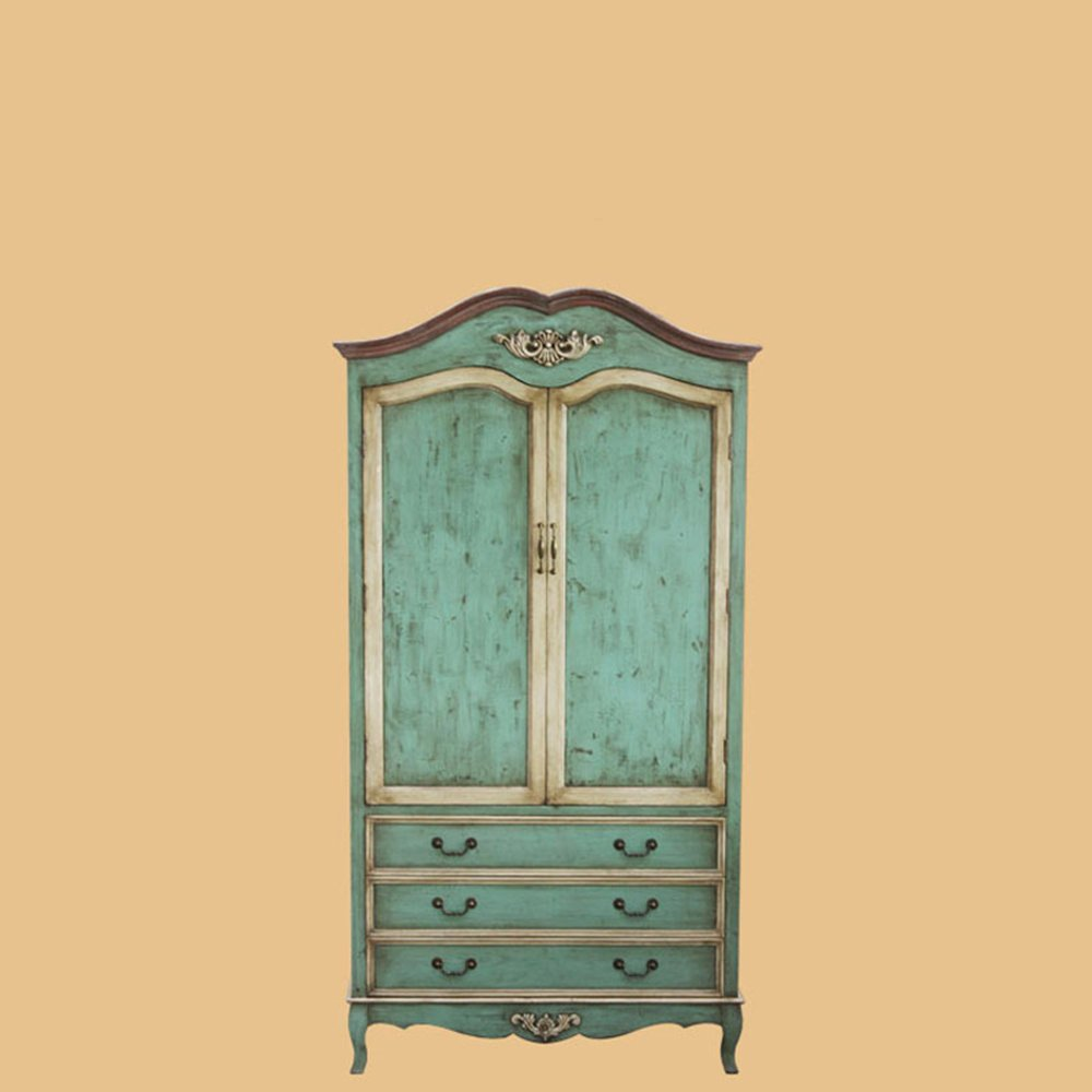 鱼西美屋 爱琴海之蓝 欧式古典雕花大衣柜 地中海双开门卧室柜