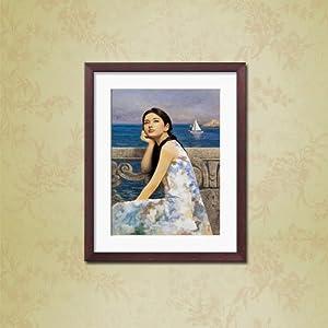 油画人物现代装饰画有框画墙画酒店宾馆